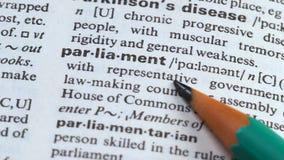 Het Parlement woord in Engels woordenboek, wetgevingsraad in de overheid van de staat stock footage