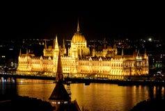 Het Parlementsgebouw bij nacht, Boedapest, Hongarije Stock Afbeelding