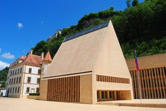 Het Parlementsgebouw in Vaduz Stock Foto's
