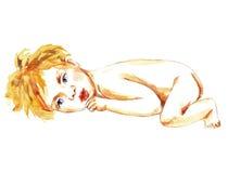 Het pasgeboren baby liggen Stock Foto's