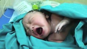 Het pasgeboren schreeuwen stock footage