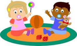 Het pasgeboren Spelen van Babys Royalty-vrije Stock Afbeeldingen
