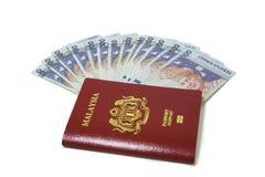 Het paspoort en de Nota's van Maleisië Royalty-vrije Stock Afbeeldingen