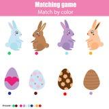Het passende spel van het kinderenonderwijs, jonge geitjesactiviteit Pasen-de jachtthema Gelijke door kleur Verbind konijntje aan stock illustratie