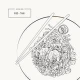 Het Pat Thai be*wegen-gebraden voedsel van Thailand van de rijstnoedel lokale stock illustratie