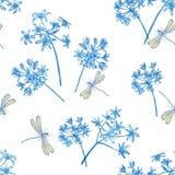 Het patroon bloeit blauw Stock Foto