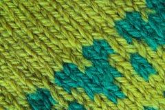 Het patroon groene textuur van de wol Stock Fotografie