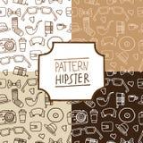 Het patroon hipster plaatste, nummer 1 Stock Foto's