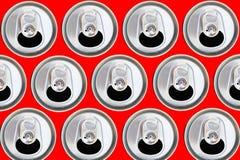 Het patroon kan van bier of de sodavlakte lag staalachtergrond royalty-vrije stock fotografie