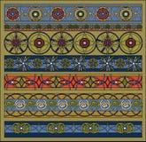 Het patroon kleurde, geometrische geplaatste elementen Stock Fotografie
