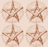 Het patroon met de ster van de tekeningshulpmiddelen stock illustratie