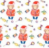 Het patroon met snoepjes en een het glimlachen aap in Nieuwjaren passen aan Stock Afbeelding