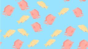 Het patroon is naadloos van vrolijke vriendelijke kleurrijke multicolored kleurrijke die vissen met draden worden genaaid De acht royalty-vrije illustratie