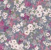 het patroon op een grijze achtergrond met witte wild nam en lilac bloemen van verschillende grootte toe Royalty-vrije Stock Foto's