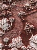 Het patroon op het muur uitstekende communautaire huis dichtbij het rivierbeeld Royalty-vrije Stock Afbeelding