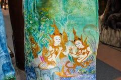 Het patroon Thai snijdt Stock Afbeeldingen