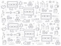 Het patroon van het Blockchainconcept Computers aan netwerkuitwisseling van informatie die worden geketend vector illustratie
