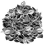 Het patroon van bloemen en van vogels vector illustratie