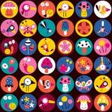 Het patroon van bloemen, van vogels, van paddestoelen & van slakken Stock Foto