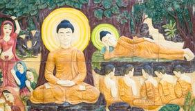 Het patroon van Boedha op de muur in de tempel Stock Afbeeldingen