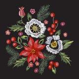 Het patroon van borduurwerkkerstmis met bloemen, pijnboom en maretak Royalty-vrije Stock Foto's