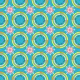 Het patroon van het cirkelthema en abstracte bloemen en blauwe achtergrond vector illustratie