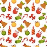 Het patroon van de van de achtergrond Kerstmisdecoratie naadloos van de de vakantiegroet vectornieuwjaarwinter de kaartontwerp Royalty-vrije Stock Fotografie
