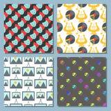 Het patroon van de van achtergrond kunstpictogrammen de naadloze van de de kleurencreativiteit atistinkt grafische van de de film Stock Fotografie