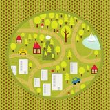 Het patroon van de beeldverhaalkaart van klein stad en platteland. Stock Foto's