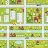 Het patroon van de beeldverhaalkaart van kleine stad. Stock Afbeeldingen