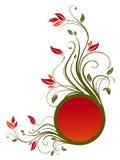 Het patroon van de bloem en rode cirkelbanner vector illustratie