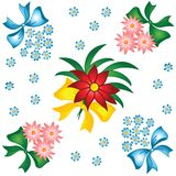 Het patroon van de bloem. Kleine boeketten met bogen. Royalty-vrije Stock Afbeelding