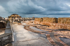 Het patroon van de boogvloer binnen Castillo San Felipe del Morro Royalty-vrije Stock Foto's