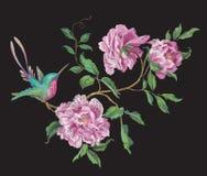 Het patroon van de borduurwerkmanier met kolibrie op tak van exotisch Stock Afbeeldingen