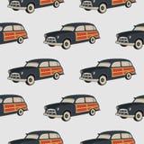 Het patroon van de brandingsauto Surfend naadloos behang De zomerachtergrond met oude die auto op witte achtergrond wordt geïsole Vector Illustratie