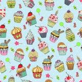 Het patroon van de Cupcakekrabbel Stock Afbeeldingen