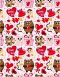 Het patroon van de Dag van de naadloze Valentijnskaart Stock Foto's