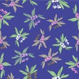Het Patroon van de Floridian Bloemendruk Tropische Vector Als achtergrond in Blauwe Mauve vector illustratie