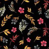 Het patroon van de gebiedsbloem met rode bloemen en bladeren stock afbeeldingen