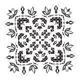 Het patroon van de handtekening voor tegel in zwart-wit Bloemen vierkante stencil Stock Fotografie