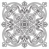 Het patroon van de handtekening voor tegel in zwart-witte kleuren Italiaanse majolicastijl royalty-vrije illustratie