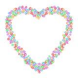 Het patroon van de hartvorm door kleurrijke cirkels in diverse die grootte wordt, op witte transparante achtergrond wordt geïsole Royalty-vrije Stock Foto