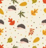 Het patroon van het de herfstblad met egel vector illustratie