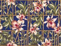 Het patroon van de hibiscusbloem Stock Foto's