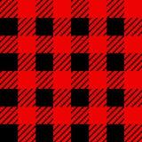 Het patroon van de houthakkersplaid in rood en zwart Naadloos vectorpatroon Eenvoudig uitstekend textielontwerp royalty-vrije illustratie