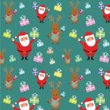 Het patroon van de Kerstmisvakantie met santa en rendier die giften geven De illustratie van de handtekening Stock Foto
