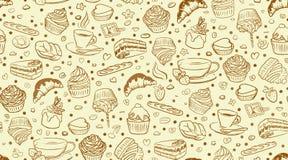 Het patroon van de koffie cupcake royalty-vrije illustratie