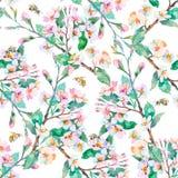 Het patroon van de lente Bloeiende takken en bijen watercolor Vector Royalty-vrije Stock Foto's