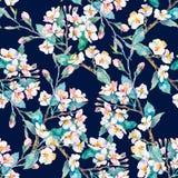Het patroon van de lente Bloeiende takken watercolor Vector Royalty-vrije Stock Afbeeldingen