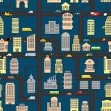 Het patroon van de nachtstad Wolkenkrabbers en vervoers stedelijke seamles Royalty-vrije Stock Fotografie